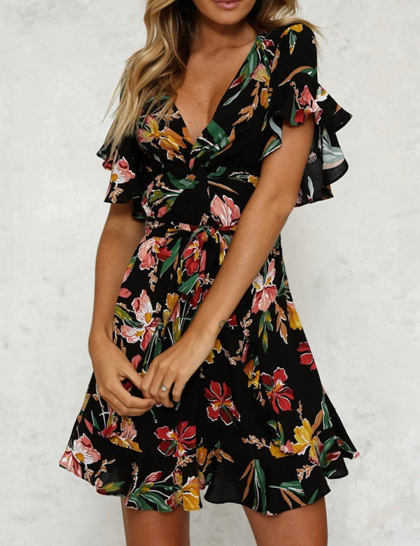 V-Neck Short Ruffle Sleeve Slim Waist Floral Print Black Mini Dress