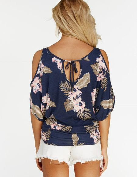 Navy Floral Print Cold Shoulder Tie-up at Back Tee