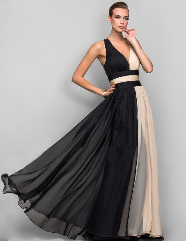 Fashion Two-color Sleeveless V-Neck Maxi Dress