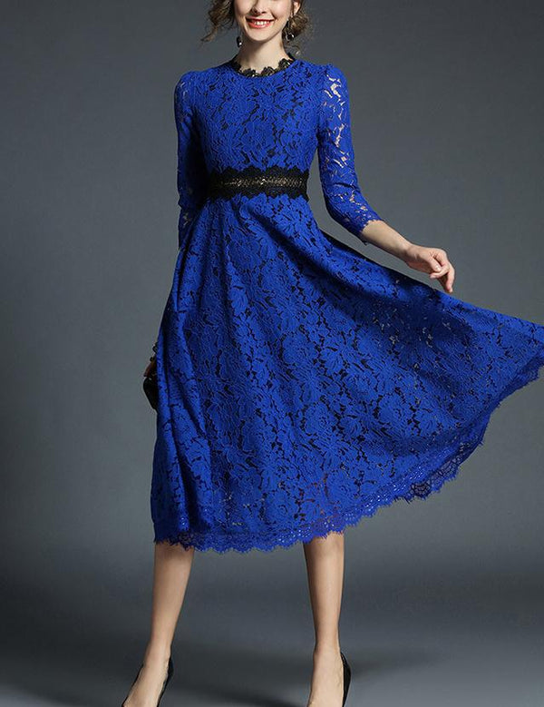 A-line Hook Flower Hollow Stitching Lace Big Swing Midi Dress