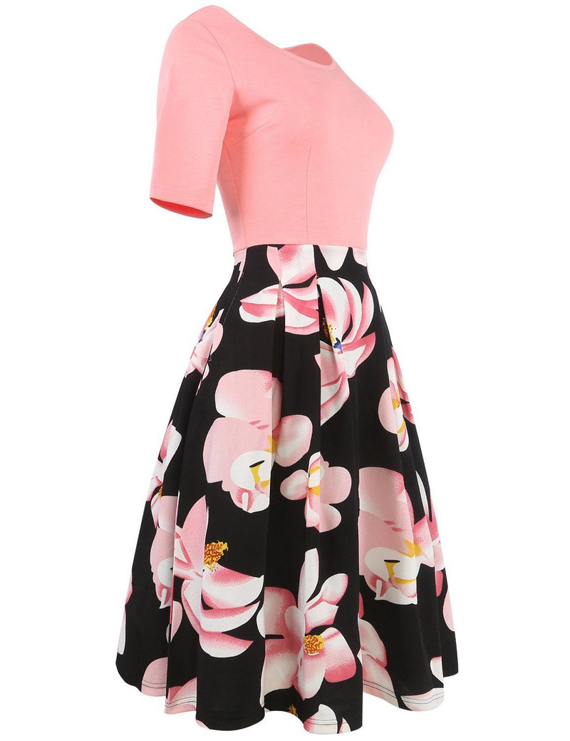 A-line Round Neck Short Sleeve Floral Print Midi Dress