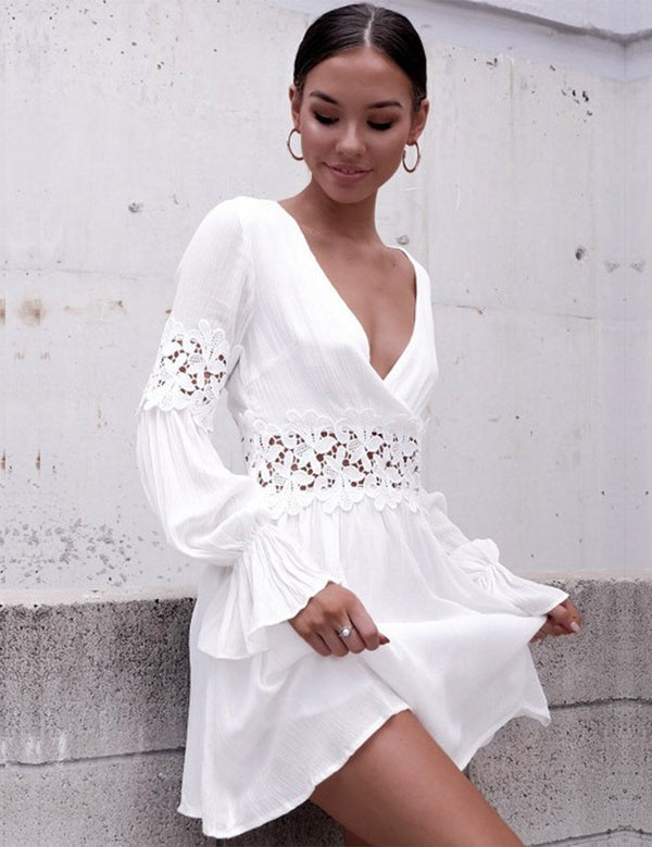 A-Line V-Neck Long Sleeve Open Back White Mini Dress - Fancyqube