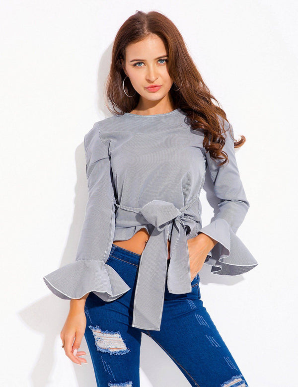 Flare Long Sleeve New Straps Bowkont Striped Blouse Crop Top