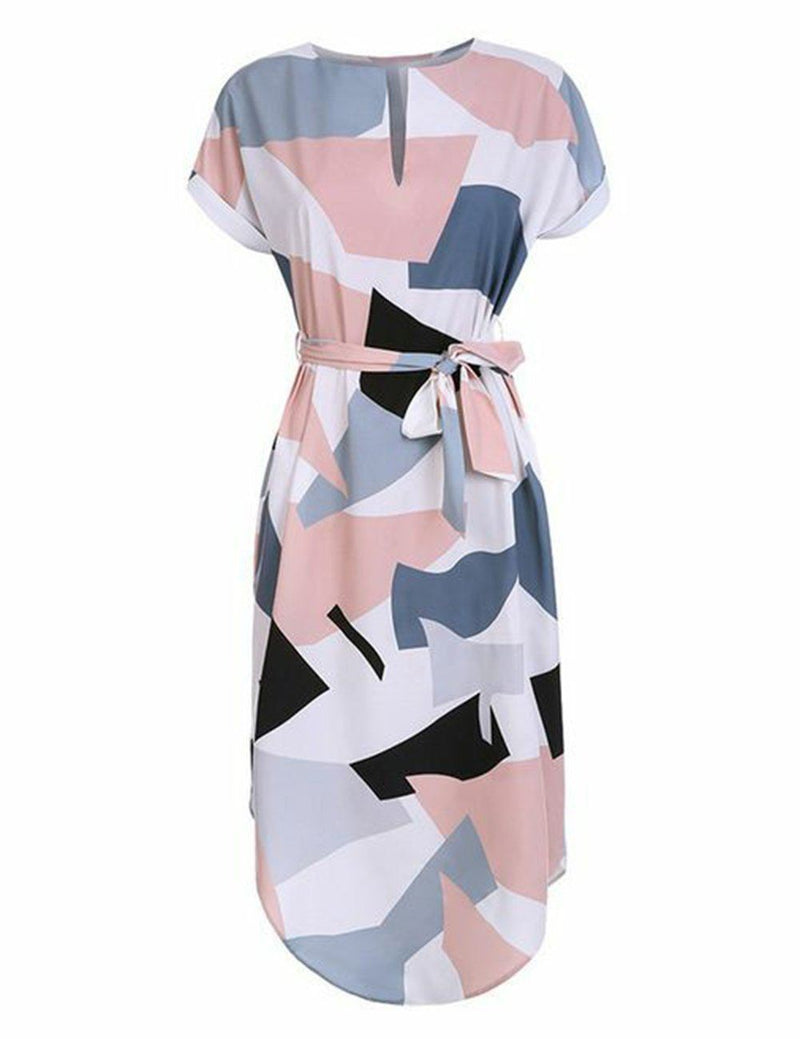 Geometric Printed Deep V-Neck Dress with Belt - Fancyqube
