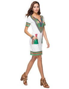 V-Neck Short Sleeve Ethnic Style Printed Bodycon Mini Dress