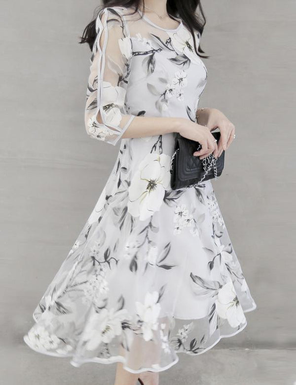 Floral Printed Hollow Out Chiffon Skater Midi Dress