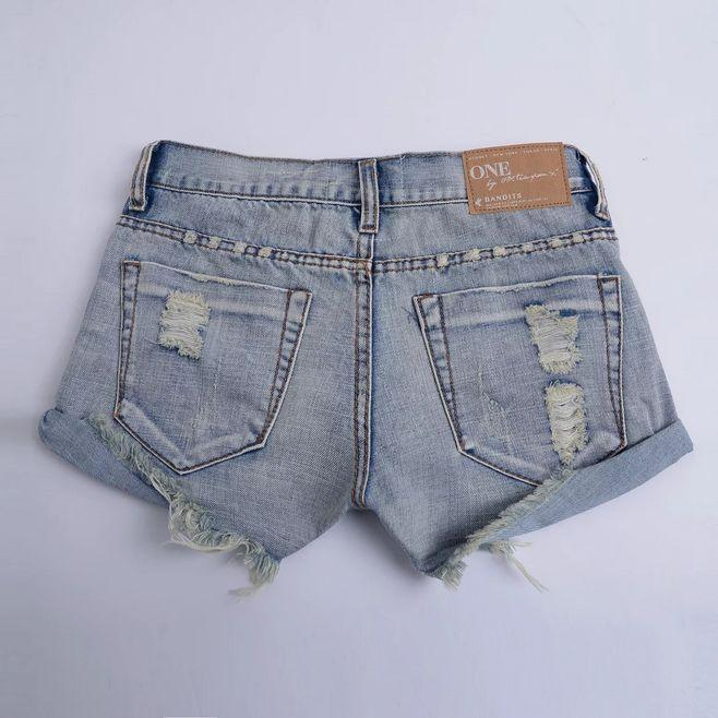 Roll Hem Random Ripped Denim Shorts - Fancyqube