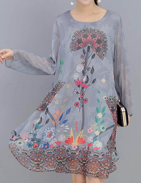 Round Neck Long Sleeve Chinese Printed Style Midi Dress - Fancyqube