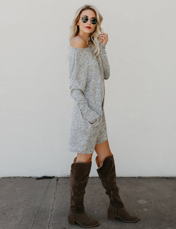 New Boat Neck Long Sleeve Casual Knit Sweater Dress