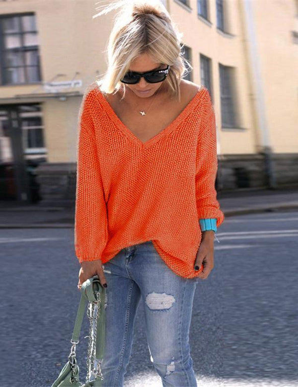 Solid Casual Polyester V-Neck Long Sleeve Sweater