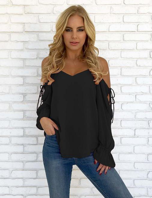Red V-neck Cold Shoulder Lace-up Chiffon Blouse - Fancyqube