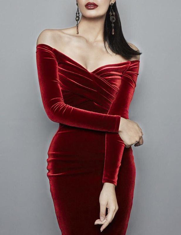 Sexy Off Shoulder Ruched Solid Velvet Bodycon Dress