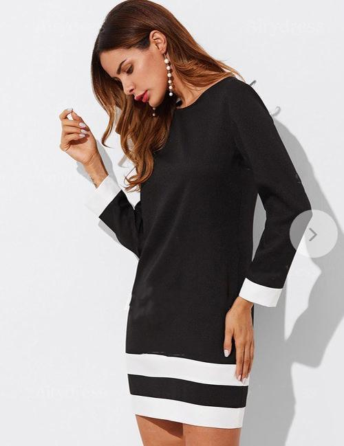 Splicing Color Round Neck Long Sleeve Mini Dress