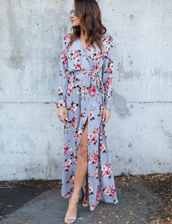 New Hot V-Neck Sexy Slit Leg Floral Print Maxi Dress - Fancyqube