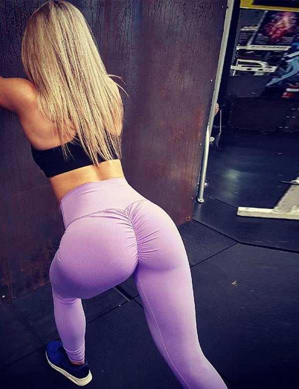 Pure color high waist yoga pants - Fancyqube