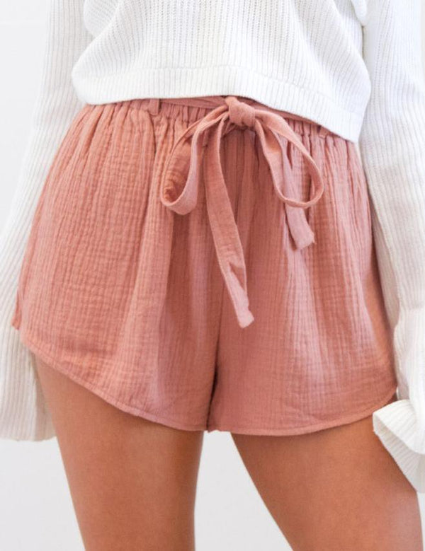 Solid Elastic Waist Shorts with Belt - Fancyqube