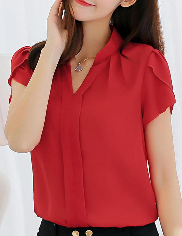 Slim Fashion V-Neck Casual Top - Fancyqube