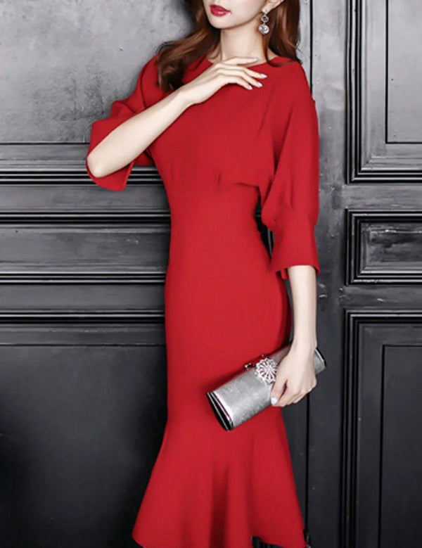 Bateau 3/4 Sleeve Fishtail Red Bodycon Party Midi Dress