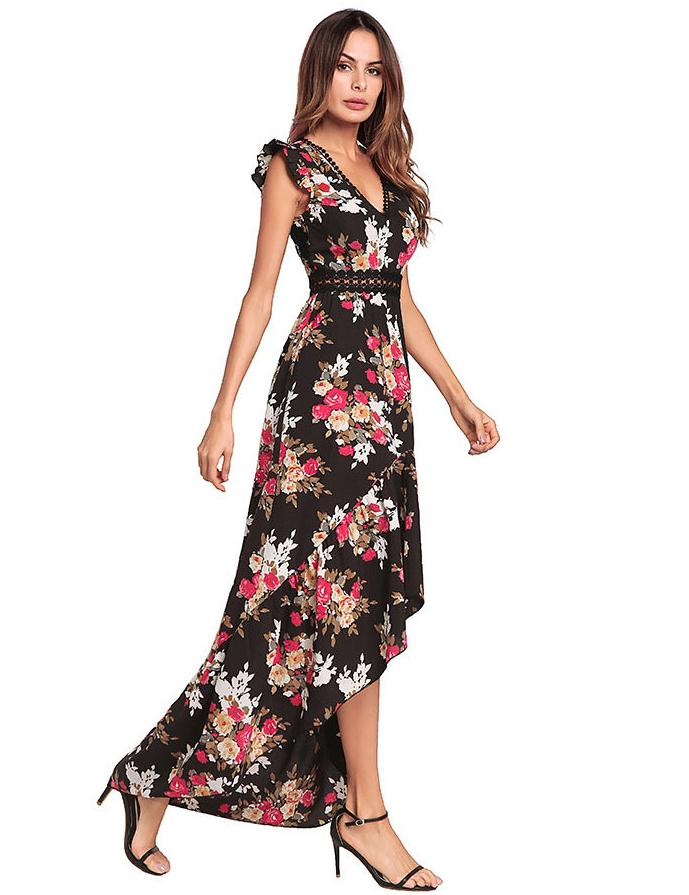 Lace Stitching Ruffle Cap Sleeve Open Back Irregular Floral Maxi Dress