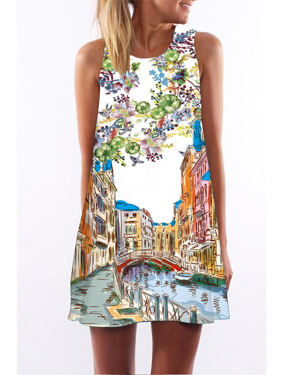Retro Digital Printing Round Neck Sleeveless Vest Mini Dress