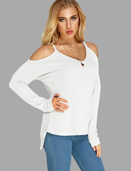 Sexy Round Neck Cold Shoulder Long Sleeve T-shirt
