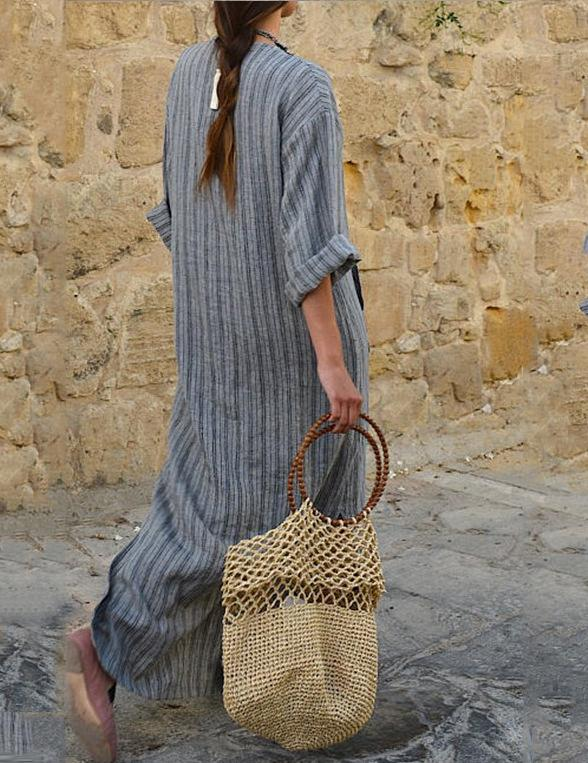 V Neck Women Summer Date Linen Paneled Maxi Dress
