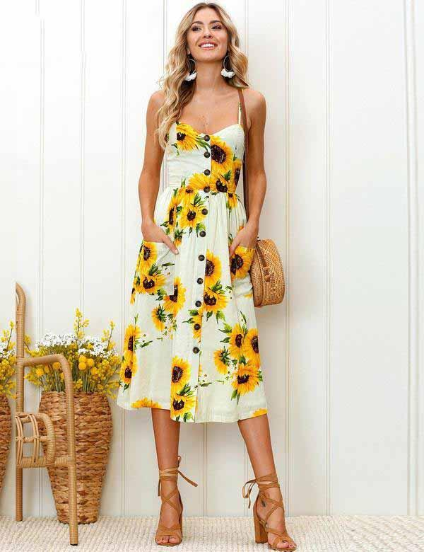 Sling Button Pockets Backless Sexy Flower Pineapple Pattern Print Midi Dress