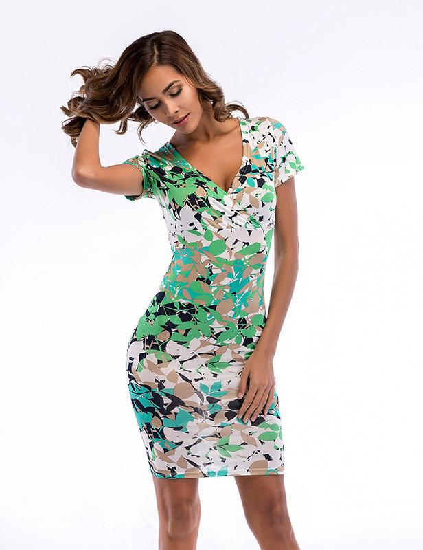 New Deep V-Neck Short Sleeve Print Pencil Mini Dress