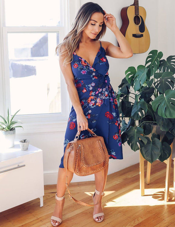 Elegant V Neck Spaghetti Strap Floral Printed Midi Dress