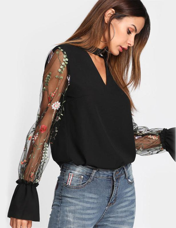 Embroidered Mesh Long Sleeve Choker Neck Blouse