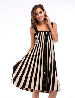 Plus Size A-Line Slip Striped Large Swing Knit Dress