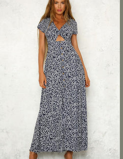 Sexy V-Neck Floral Print Twist Short Sleeve Maxi Dress - Fancyqube