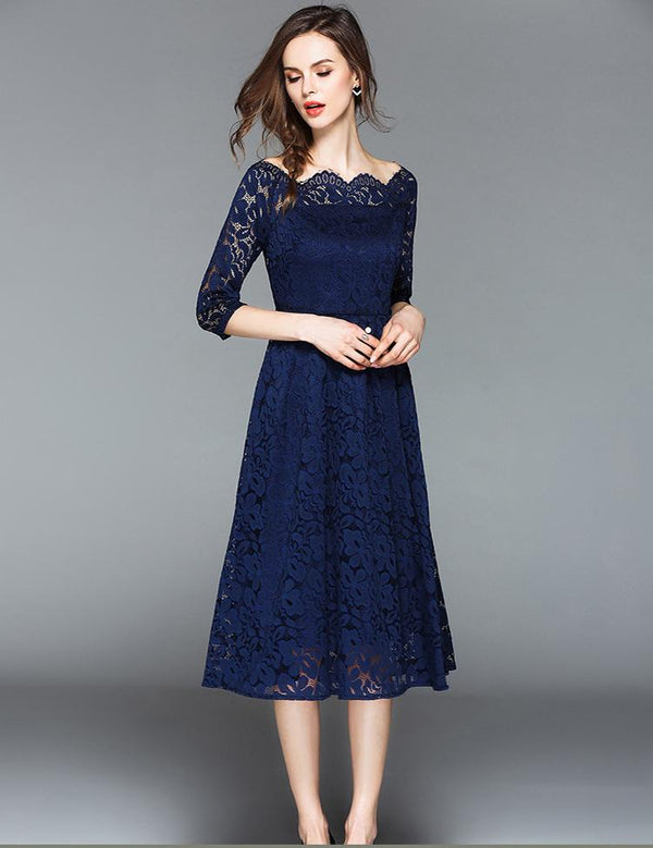 A-Line Off Shoulder Half Sleeve Fashion Lace Midi Dress