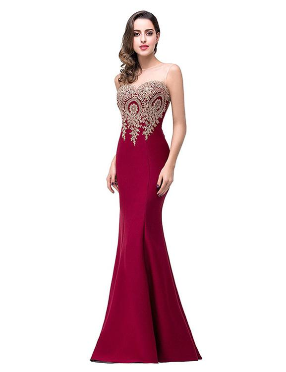 Formal See-Through Neck Mermaid Bodycon Evening Party Dress