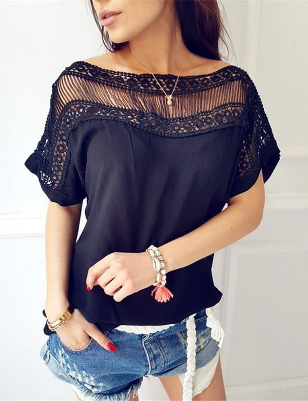 Solid Casual Boat Neck Short Sleeve Hollow Out Blouse