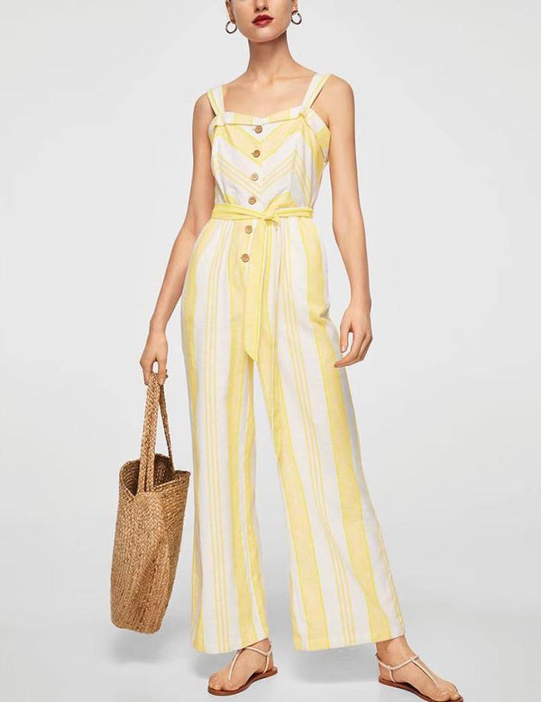 Slip Button Belt Tied Yellow Striped Jumpsuit