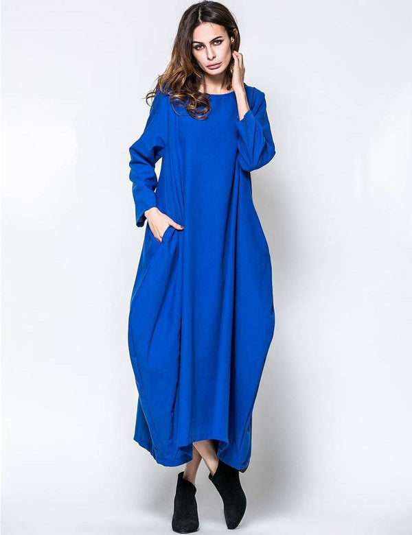 Round Neck Long Sleeve Loose Comfortable Cotton with Pockets Maxi Dress