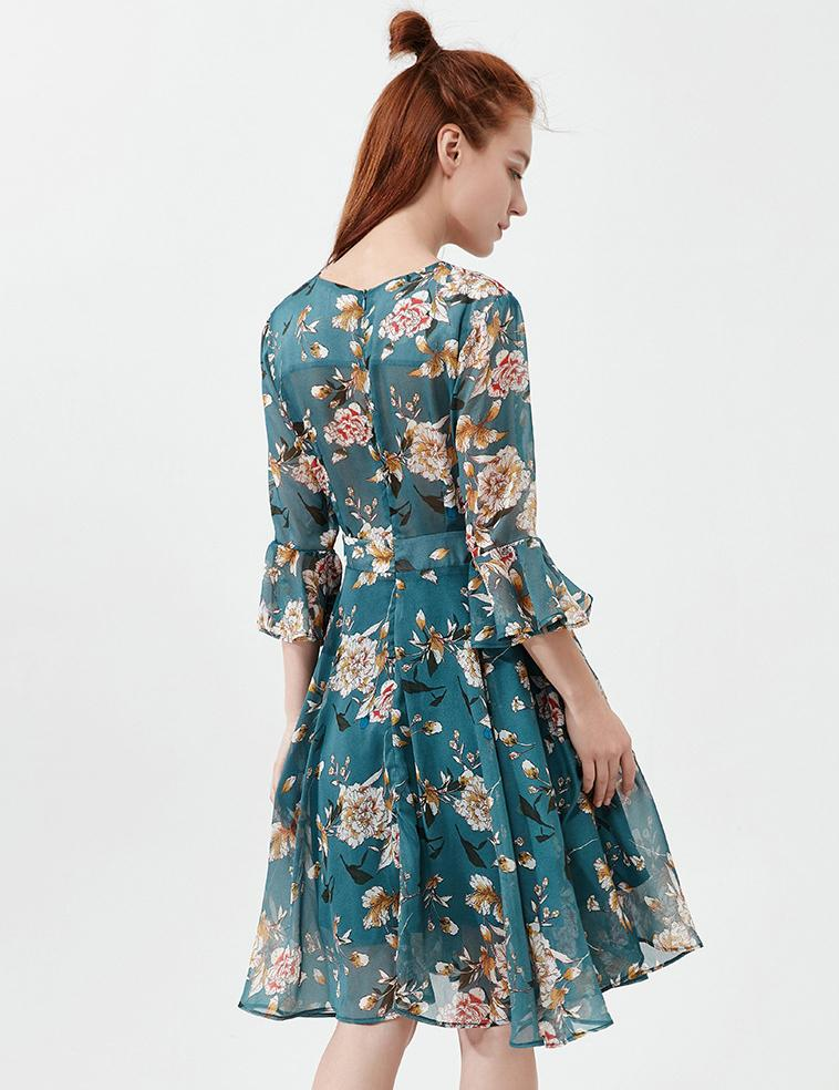 V-Neck Trumpet Sleeve Floral Printed with Belt Chiffon Mini Dress
