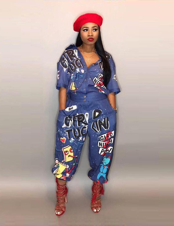 Women Sexy Letter Printed Trumpet Cuffles Jumpsuit