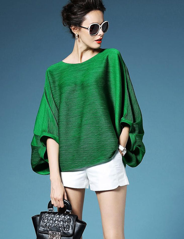 Green Solid Crew Neck Casual Long Sleeved Top