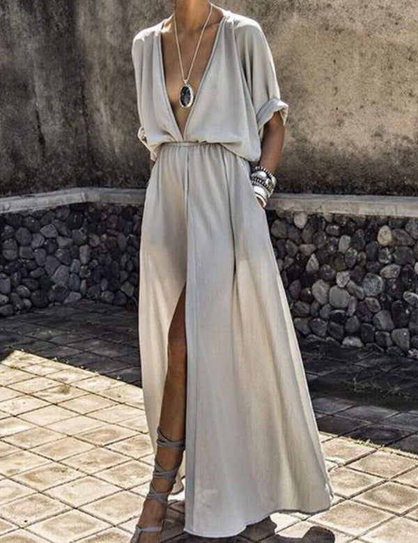 Sexy Deep V-Neck Half Sleeve Split Maxi Dress - Fancyqube