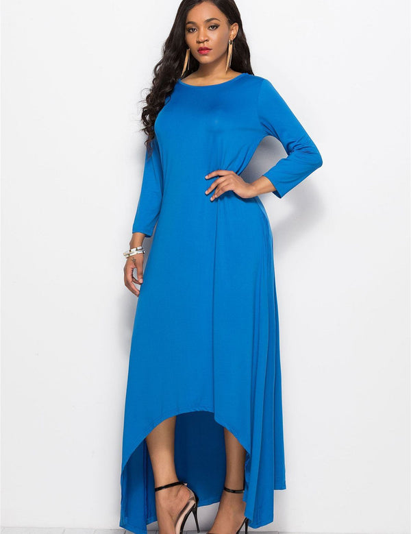Plus-Size High-Low Nine-Point Sleeve Loose Comfortable Maxi Dress