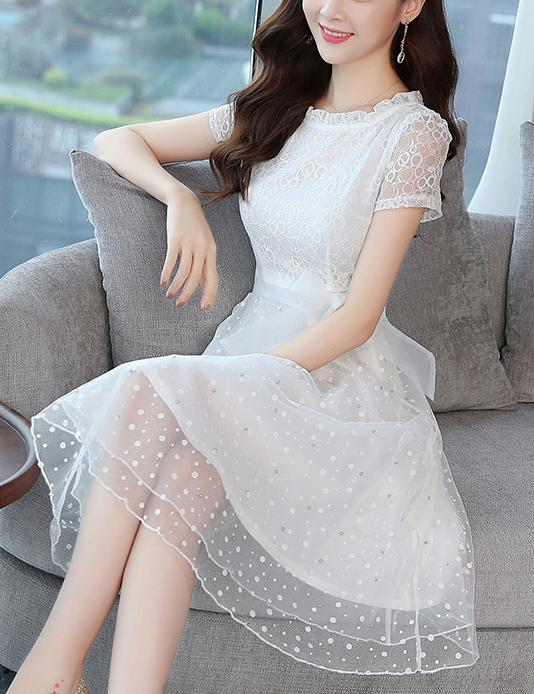 New A-Line Slim Waist Ploka Dot Print Chiffon Lace Midi Dress