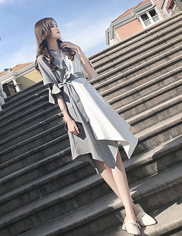 New V-Neck Half Sleeve Waist Lace-up Irregular Hem Striped Midi Dress