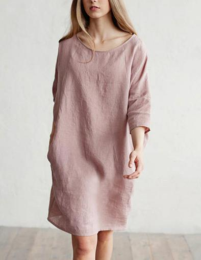 Round Neck Long Sleeve Loose Cotton and Linen Stitching with Pockets Mini Dress