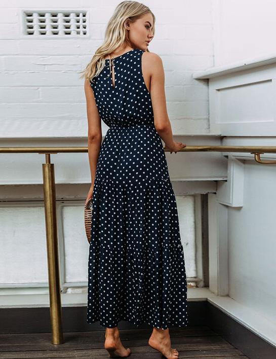 Hot Summer Fashion Wave Round Neck Dress Sexy Button Maxi Dress - Fancyqube
