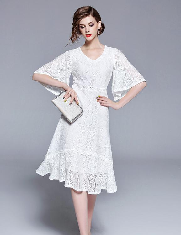 New V-Neck Sleeves Long Ruffle White Lace Midi Dress