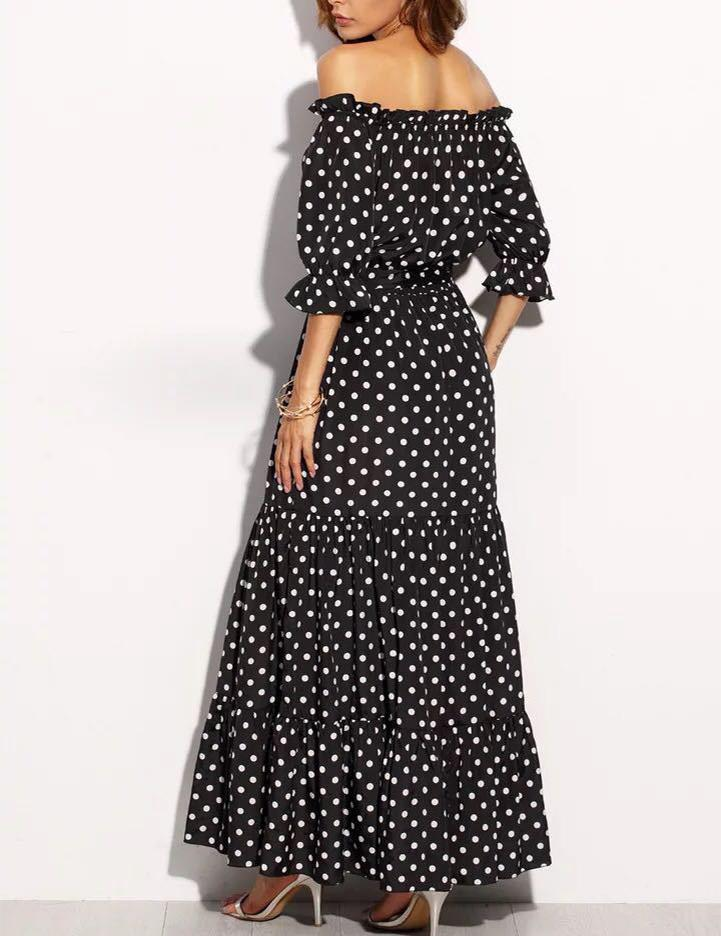 Off-the-Shoulder Black and White Dot Maxi Dress