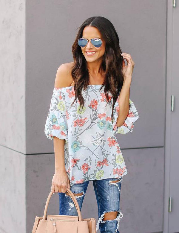 One-shoulder print short sleeve BLOUSE - Fancyqube
