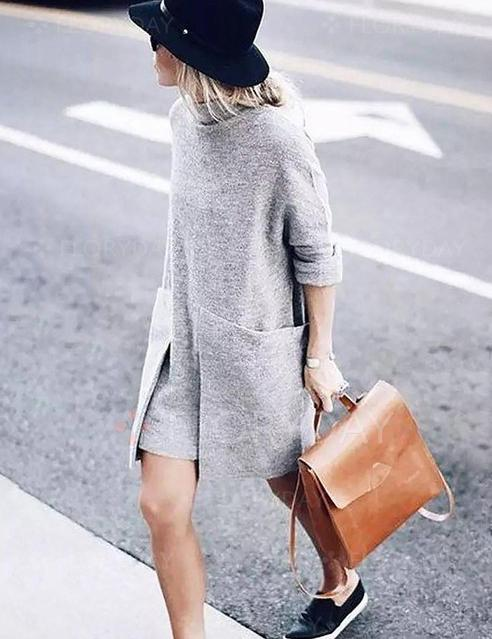Turtle Neck Long Sleeve Big Pockets Shift Knitted Sweater Dress